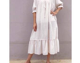 Seashell Soft & Sheer Cotton Loose V-Neck Tunic Dress (TU06)