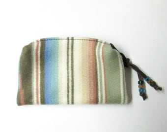 Zippered Wool Pouch Coin Purse Change Purse Accessory Organizer Beaded Zipper Pull Soft Pastels