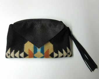 Wool Zippered Pouch Case Accessory Purse Organizer Cosmetic Bag Fringed Leather Zipper Pull Southwest
