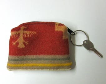 Thunderbird Key Ring Key Fob Zippered Wool Pouch Change Tokens Coins Blanket Wool from Pendleton Oregon