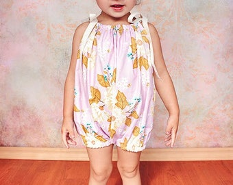 Baby Bubble Romper Pattern Tutorial PDF nb-5t w. snap button tape option and 2 fit styles downloadable