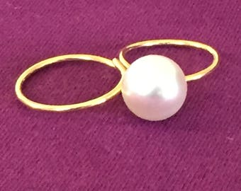 SALE Dara Ettinger Gold Plated double finger ring in with Pearl Accent
