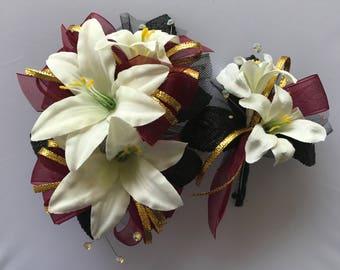 Burgundy Gold Black Corsage Set (artificial flowers )