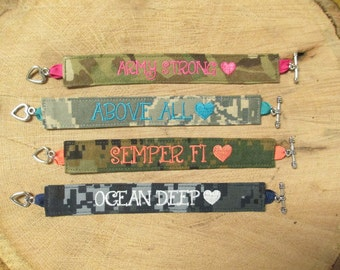 LOVE Bracelet: Army Strong, Semper Fi, Ocean Deep, Above All...Army, Navy, Air Force, Marine Name Tape Bracelet