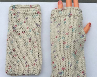 Hand Warmers - Fingerless Gloves - Cream Speckled Hobo Gloves - 100% Cotton (Free Shipping)