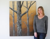 Oak Forest sunset painting - 4' tall - HUGE oak tree painting - realistic landscape - textured bark - autumn woodland forest - large canvas