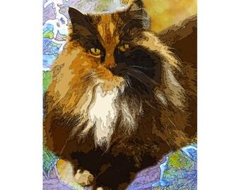 Maine Coon  cat glass cutting board,cat gift,cat trivet,Calico cat art,Maine Coon cat art,Calico long hair, maine Coon art, maine coon glass