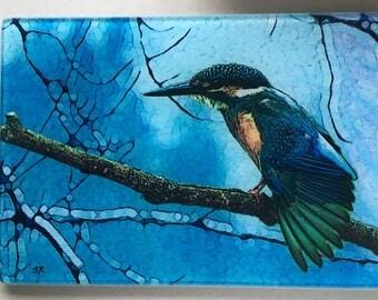 Kingfisher, Kingfisher art, Kingfisher glass cutting board, bird glass, stained glass, glass trivet, kingfisher gift, glass cutting board