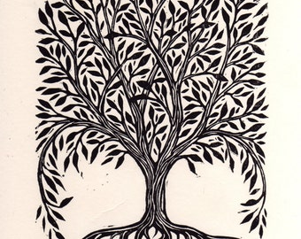 Art, Tree Print, Tree Art, Nature Art, Rectangular Tree Linocut Art Print, Hand Printed Tree, Ornate Tree Print