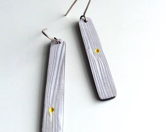 Grey and yellow, polka dot, minimal, earrings, linear, clay jewelry,modern, art jewelry