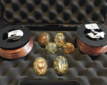 Orgone pendant - copper wire - travel case- wire wrapping set