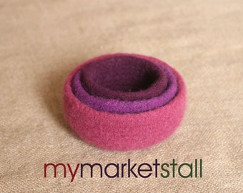 Felted Nesting Bowl Set/Plumberry/Boysen Berry/Raspberry/Handmade/Valetines Day Gift Idea/Ready to Ship