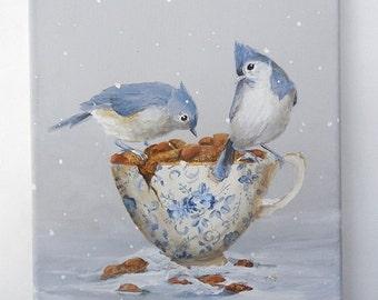 Bird teacup painting  art Titmouse in the garden snow The Gift