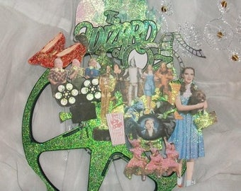 OOAK Wizard of Oz Movie Reel Altered Art Mixed Media Collage Wall Hanging Hand Glittered Lollipop Guild