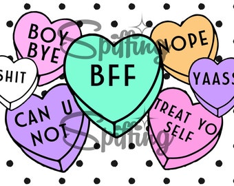 Valentine's Day Card - Personalized BFF Gift Note - Mature - Basic Candy Hearts - Treat Yo Self - Bestie - Galentine's Day