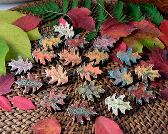 1x Autumn oak leaf brooch randomly picked from fall pile