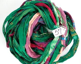 Sari ribbon, Chiffon Silk Ribbon, rug supply, weaving supply, tassel supply, Chiffon sari ribbon, printed sari ribbon