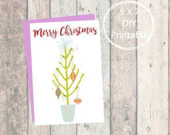 Printable Christmas Card Cute Tree, Merry Christmas, Printable Christmas Card, Christmas Card, Printable, Holiday Card, Mid-Century
