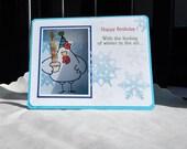 Handmade Birthday Card: winter birthday, snowflakes, chicken, birthday card, complete card, handmade, balsampondsdesign
