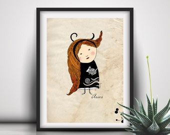 Aries Print, Aries, Zodiac Print, Gift For Her, Birthday Aries Wall Decor, Baby Girl Illustration, Horoscope,