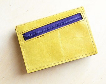 Leather Wallet Woman, Gift for Her, Women's Trifold Wallet, Wallet with Monogram - The Frances Wallet in Lemon Yellow