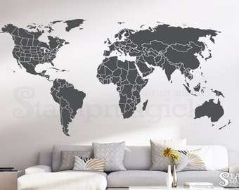 Chalk Usa Map Etsy - Us map wall decal