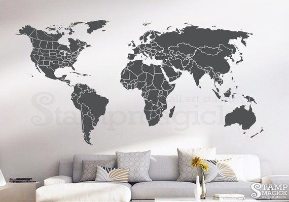 World Map Wall Decal Countries United States Map Canada - World map canada and usa