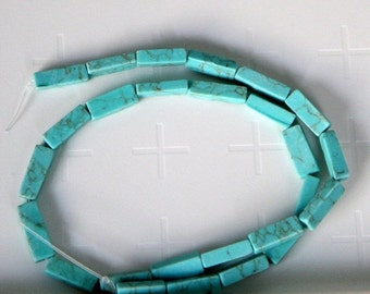 """75% OFF SPRING CLEARANCE Imitation Square Tube Turquoise Beads, 13x4mm, 15"""" strand"""