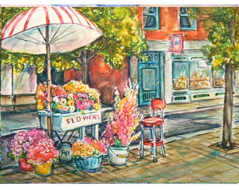 FLOWER CART-11x15 original painting landscape watercolor OOAK, Original Cityscape. Street, Flower Cart, Umbrella