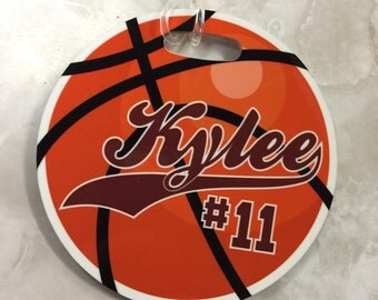Basketball Name Tag, Personalized Sports Tag, Luggage Tag Round Custom Personalized for your sports bag