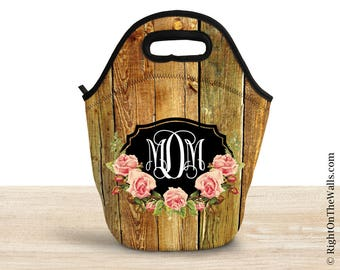 Large Reuseable Lunch Bag, Monogram Insulated Lunch Tote, Lunch Bag for Women, Shabby Rose Pattern, Monogrammed Lunch Tote, Barnwood Pattern