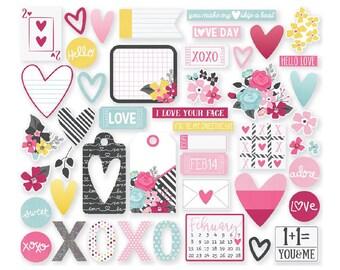 Love & Adore Bits and Pieces Cardstock Die-Cuts 47/Pkg Paper Ephemera Simple Stories (7617)