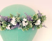 Lavender floral hair crown, Lavender and greenery bridal circlet, White flowers, woodland hair crown, Artificial head wreath, flower wreath