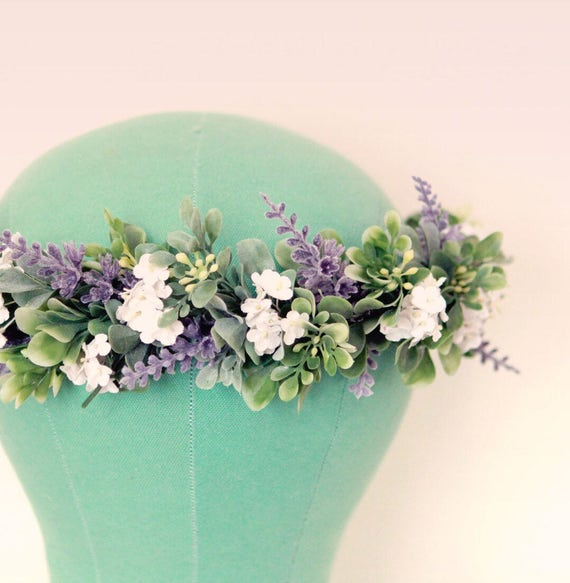 Lavender floral hair crown