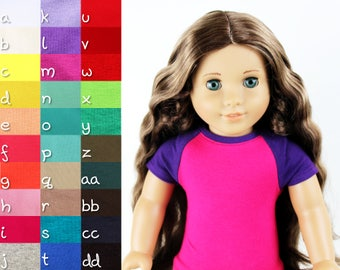 Fits like American Girl Doll Clothes - Short Sleeve Baseball Raglan Tee, You Choose Colors