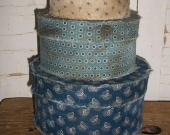 Primitive Blue Fabric Covered Stacking Pantry Boxes