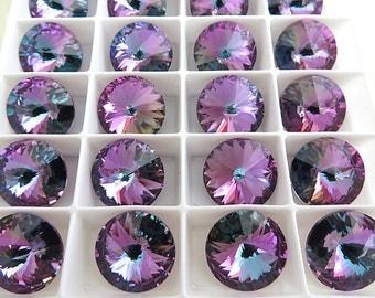 SALE 2 Violet Vitrail Light Swarovski  Rivoli Stone 1122 14mm