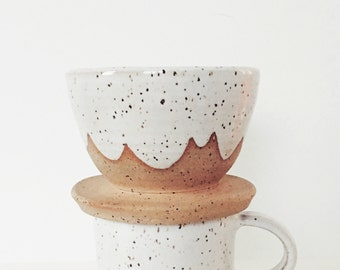 White Cloud Ceramic Coffee Pour Over, handmade ceramic coffee cone, white pottery drip coffee, speckled coffee dripper scalloped pattern