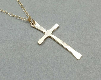 Small Gold Cross Necklace, Rustic Gold Cross Necklace, Christian Cross, Confirmation Jewelry,  Gold Cross Pendant by Maggie McMane Designs