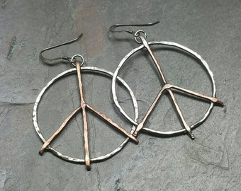 Handmade Peace Sign Necklace, Boho Peace Necklace, Sterling Silver Copper Mixed Metal Necklace, Double Chain Necklace Maggie McMane Designs