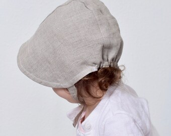 Reversible Linen Baby Bonnet