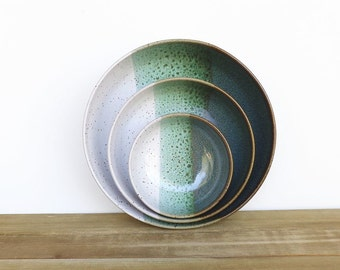 Stoneware Pottery Nesting Ceramic Bowls in Sea Mist and Glossy White Glazes - Set of 3
