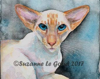 SIAMESE CAT WATERCOLOUR painting on canvas by Suzanne Le Good