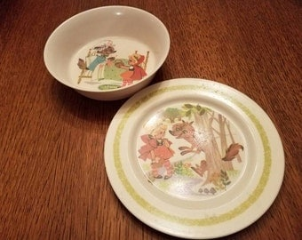 Vintage Oneida Red Riding Hood Child's Plate and Bowl