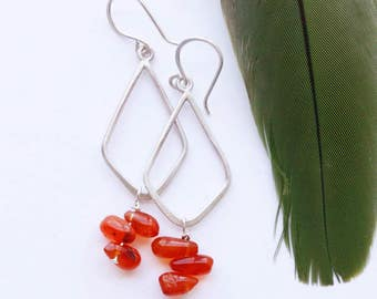 Candy Drop Earrings - Silver and Carnelian Stone