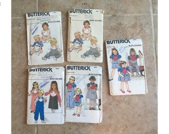 Ruth Scharf Sewing Pattern Lot Romper Sunsuit Dress infant to toddler sizes