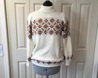 Vintage Jersild Winter Ski Sweater Nordic Apres Mock Turtleneck Sz L