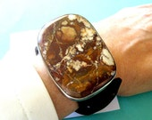 RESERVED ..Navajo Wild Horse Magnesite and Sterling Silver Triple Leather Wrap Bracelet