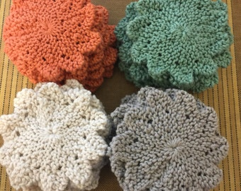 100% Cotton Face Scrubbers  or Coasters for glasses & mugs-- Great Gift Idea!