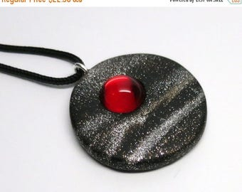 HALF OFF SALE Pendant Polymer Clay with Vintage Ruby Glass Cabochon